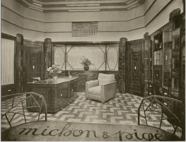 art deco interior offices of michon et pige art deco expo 1925 20th century photographs. Black Bedroom Furniture Sets. Home Design Ideas